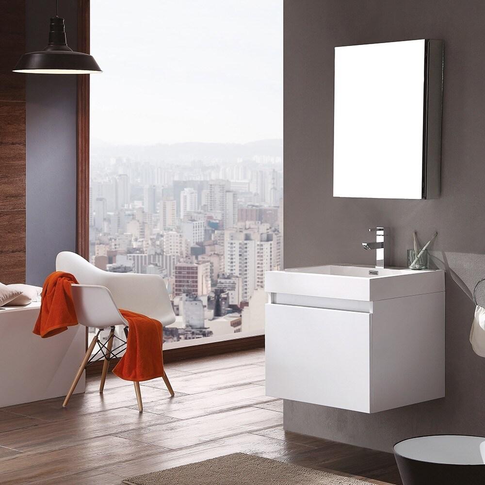Shop Fresca Nano White Modern Bathroom Vanity w/ Medicine Cabinet ...