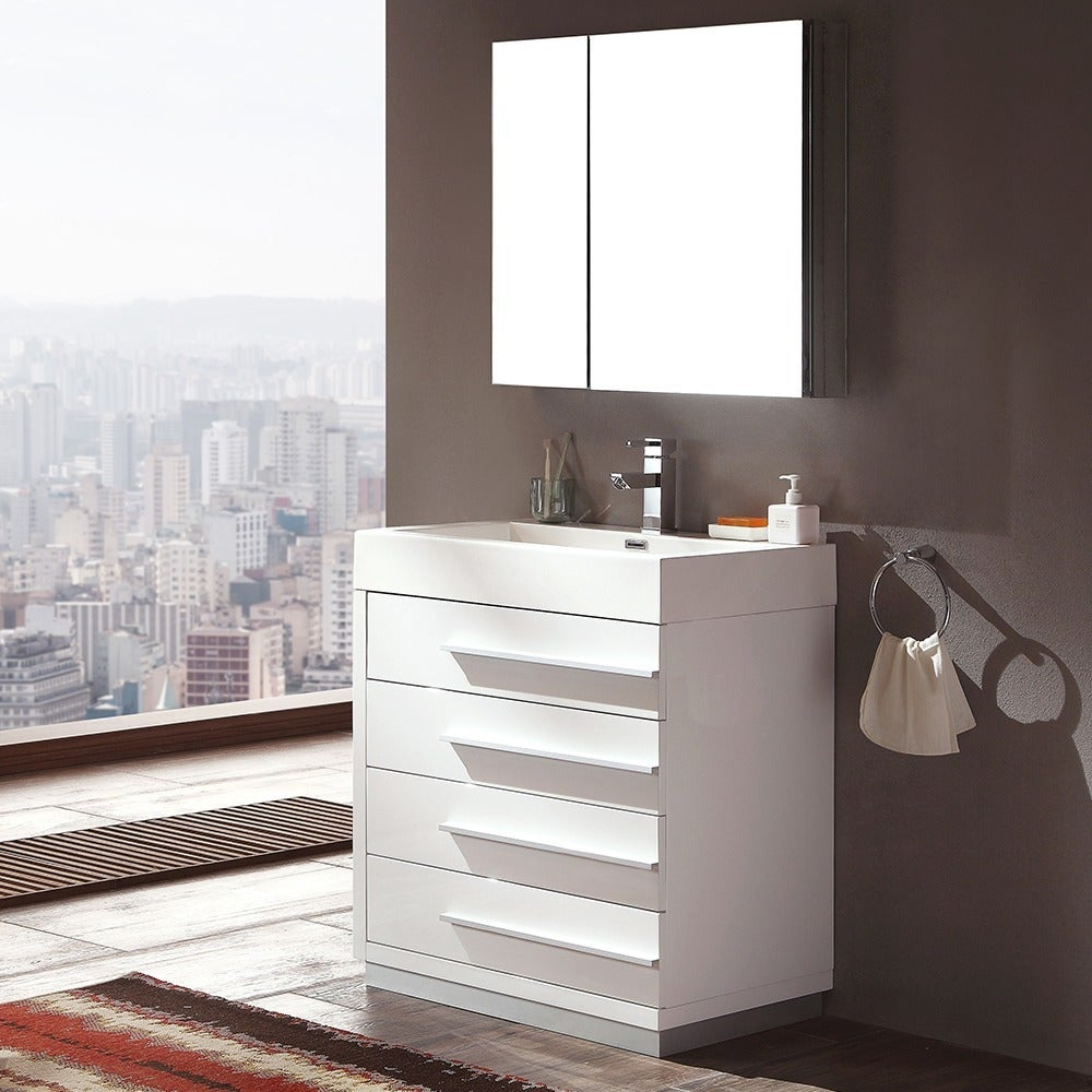 Shop Fresca Livello Inch White Modern Bathroom Vanity Medicine - 30 inch contemporary bathroom vanity