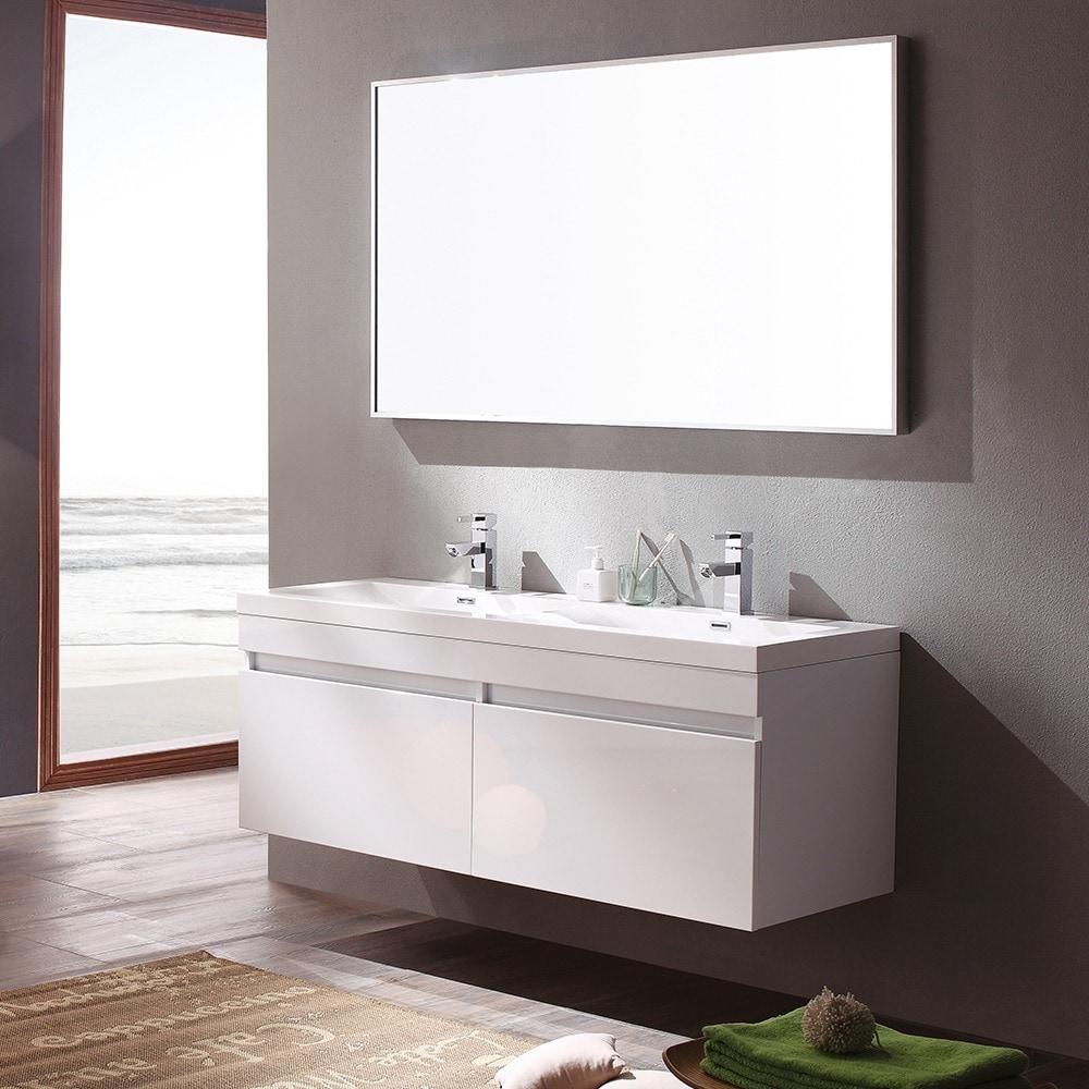Shop Fresca Largo White Modern Bathroom Vanity w/ Wavy Double Sinks ...