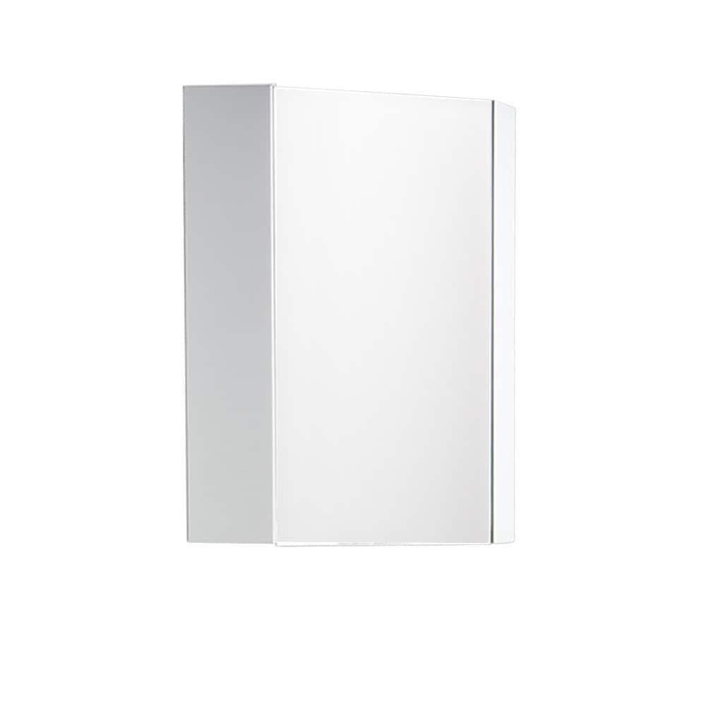 Shop Fresca Coda 14 Inch White Corner Medicine Cabinet With Mirror