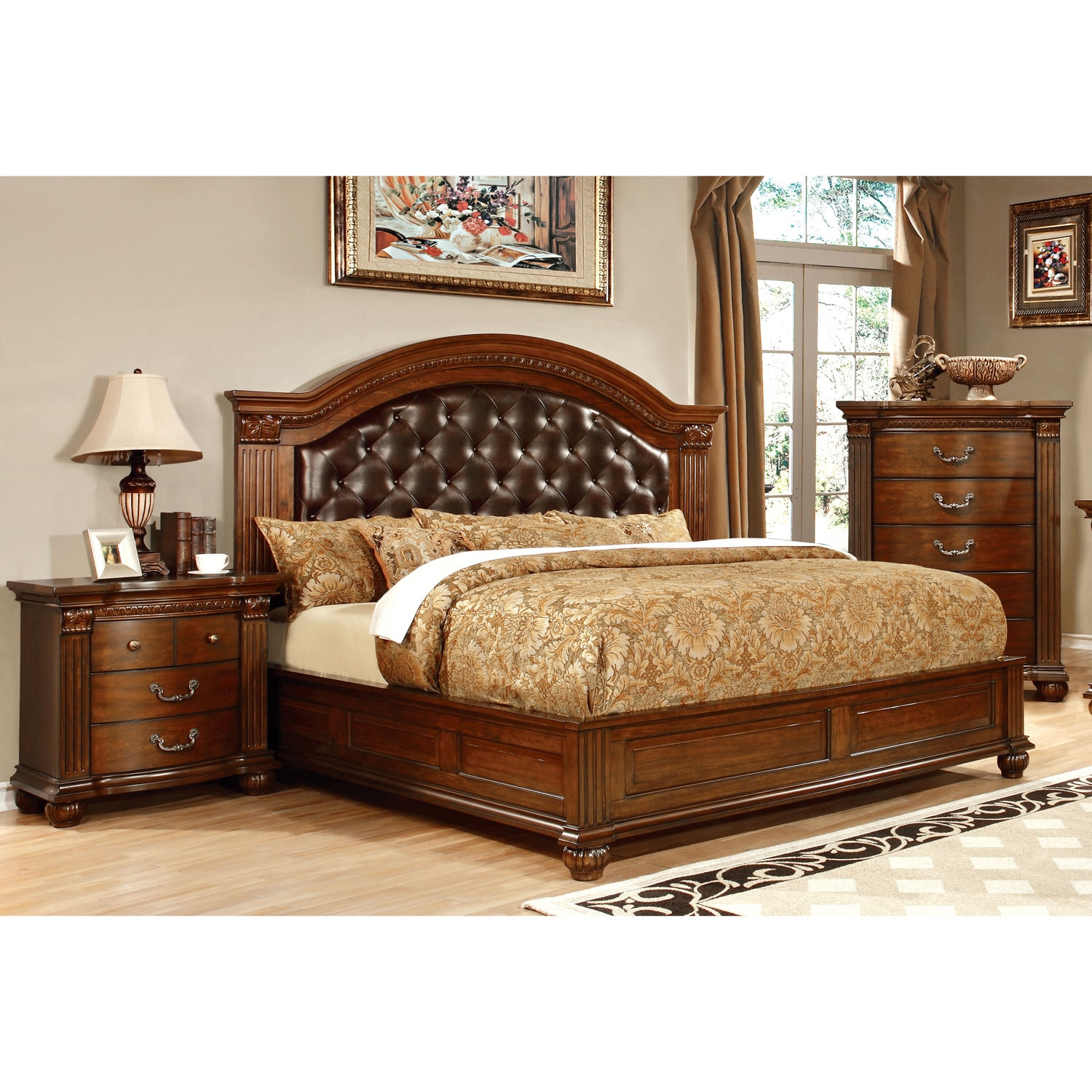 Furniture Of America Vayne Ii 3 Piece Traditional Cherry Bedroom Set