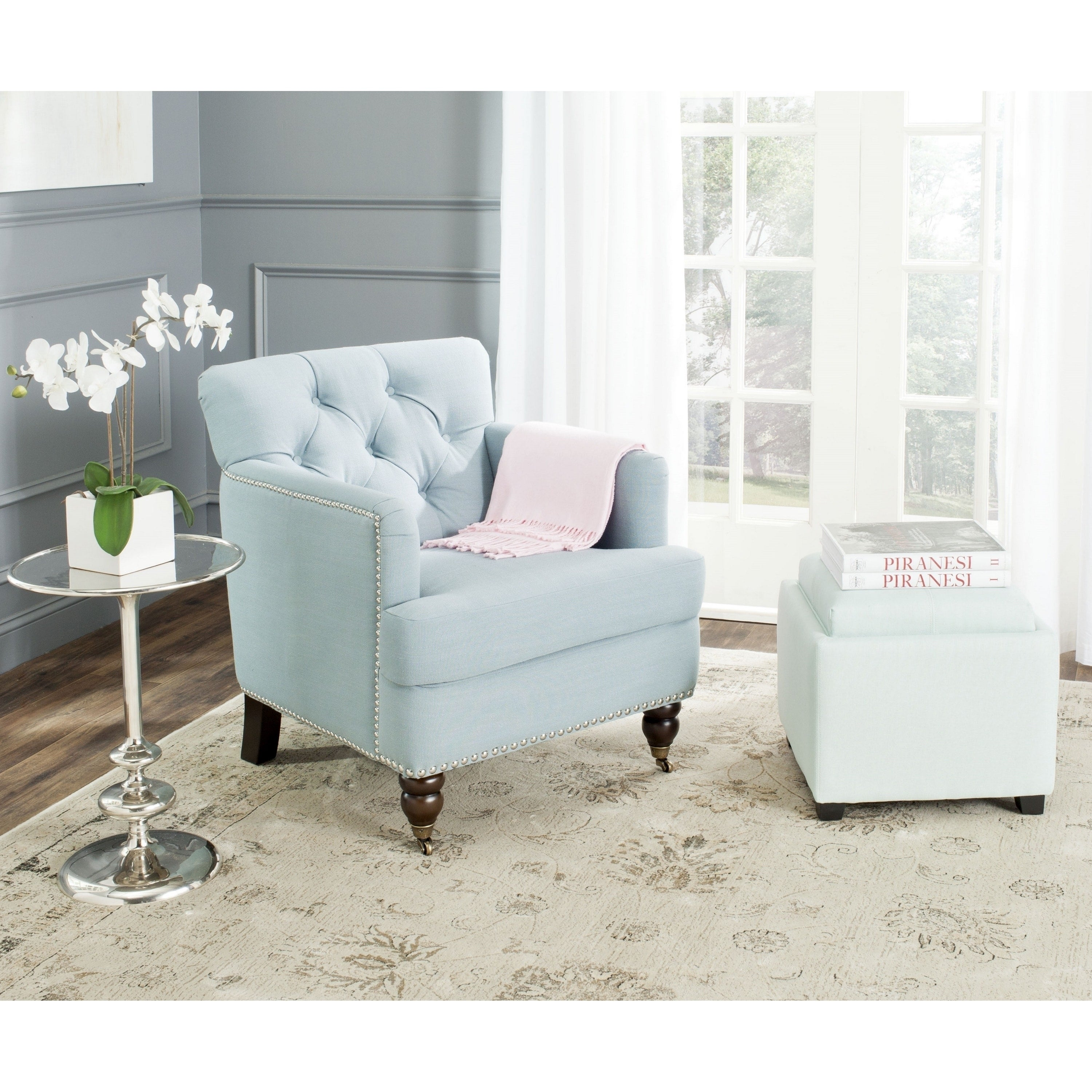 Attractive Safavieh Colin Sky Blue Linen Tufted Club Chair   Free Shipping Today    Overstock   17136317