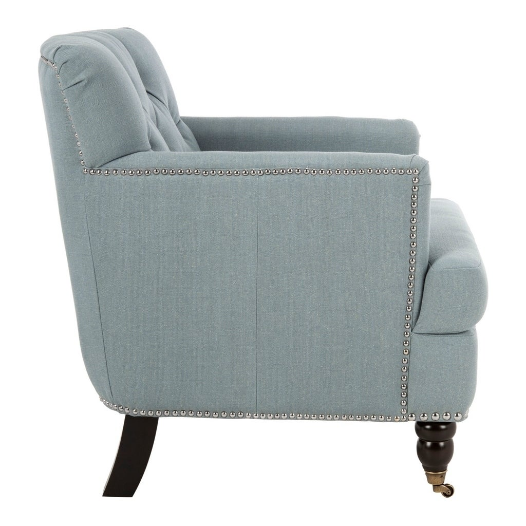 Safavieh Colin Sky Blue Linen Tufted Club Chair   Free Shipping Today    Overstock   17136317