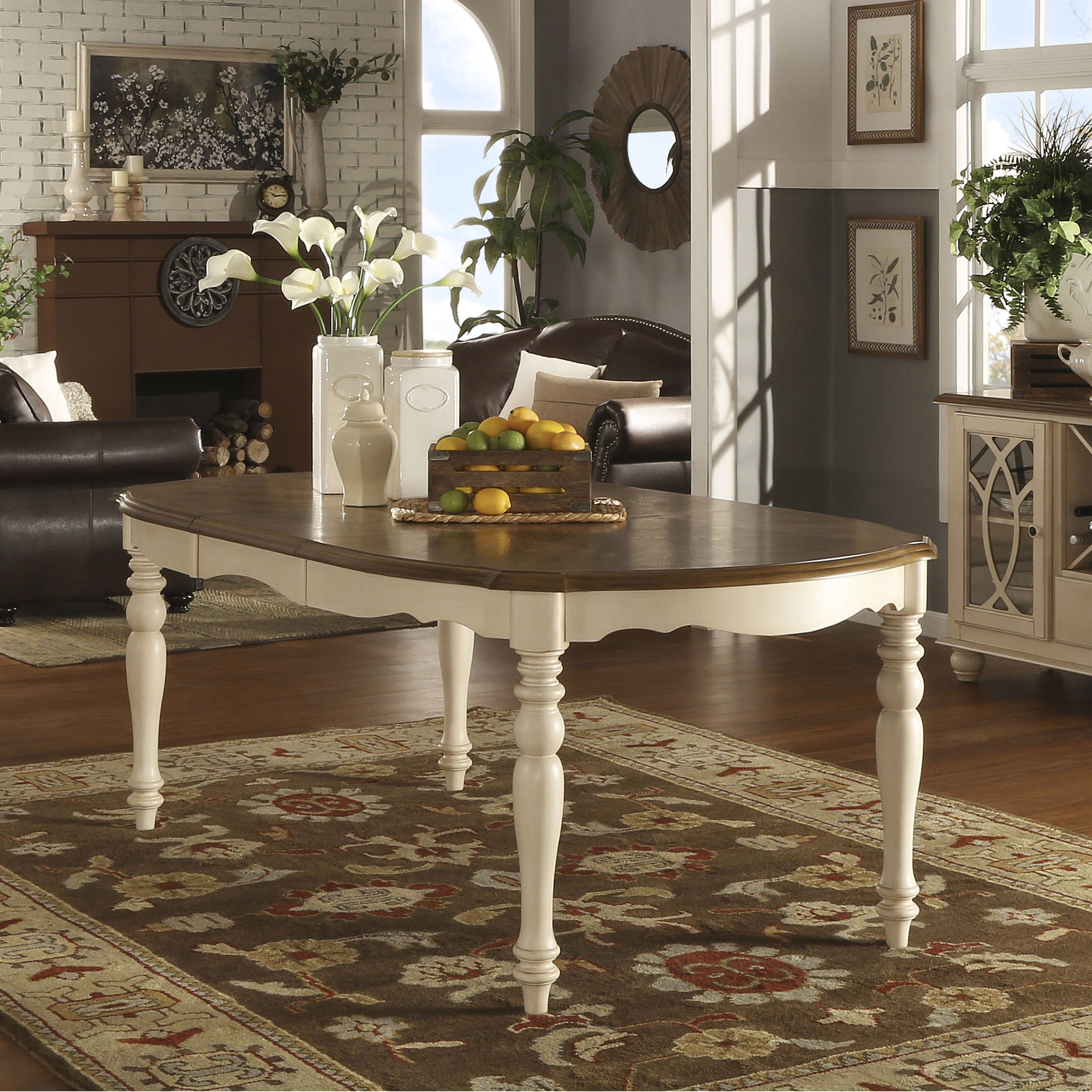 Shayne Country Antique Two Tone White Extending Dining Table By Inspire Q Clic Free Shipping Today 9985503