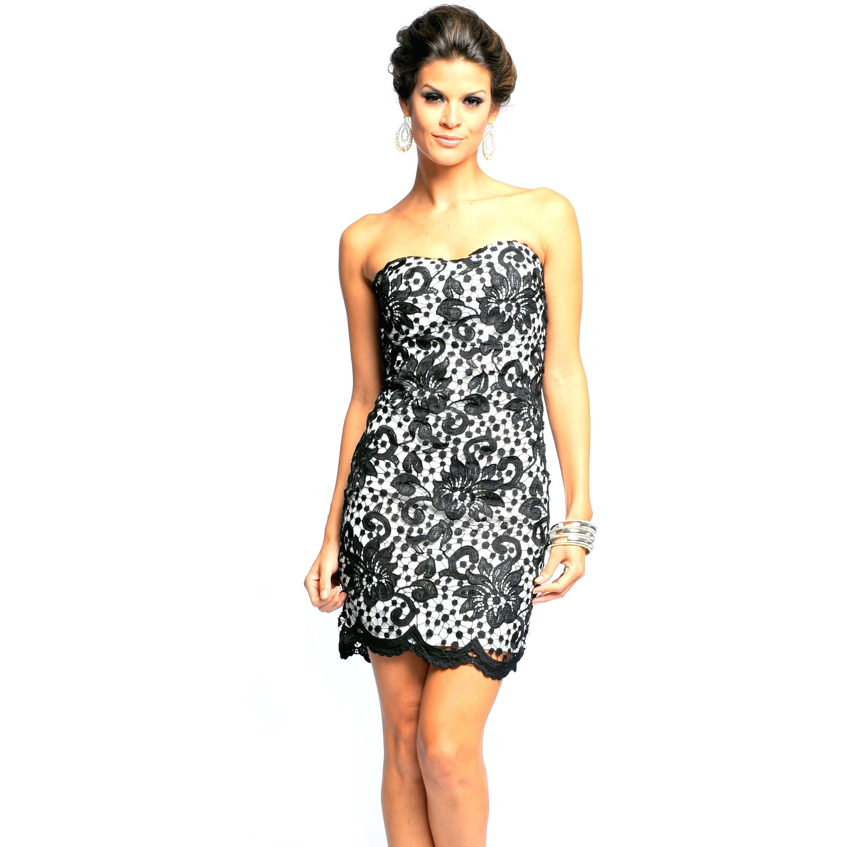 83942db754c Shop Sara Boo Allover Lace Strapless Dress - Free Shipping On Orders Over   45 - Overstock.com - 9987512