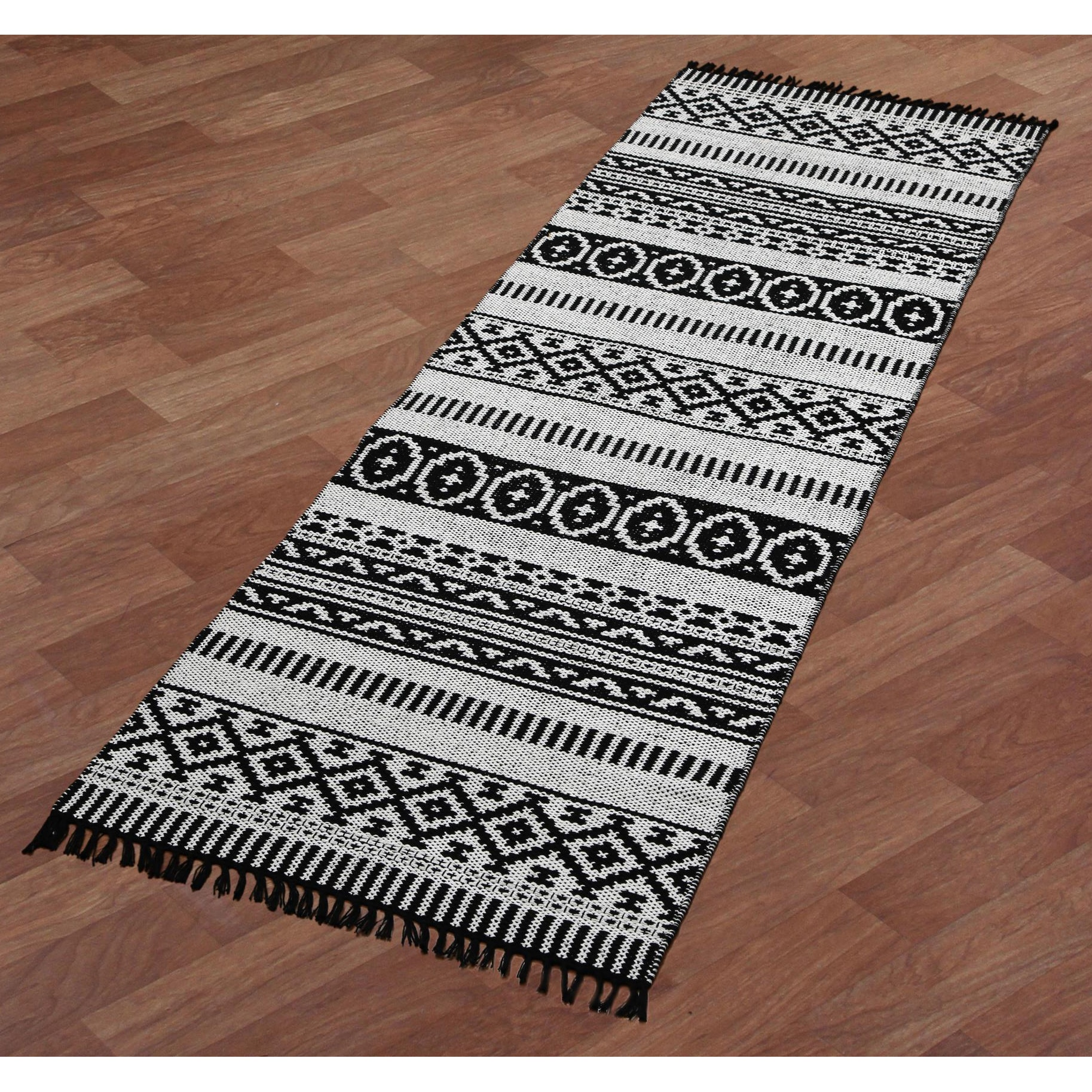 Black Geo Cotton Runner Rug 2 5 X8 On Free Shipping Today 9987583
