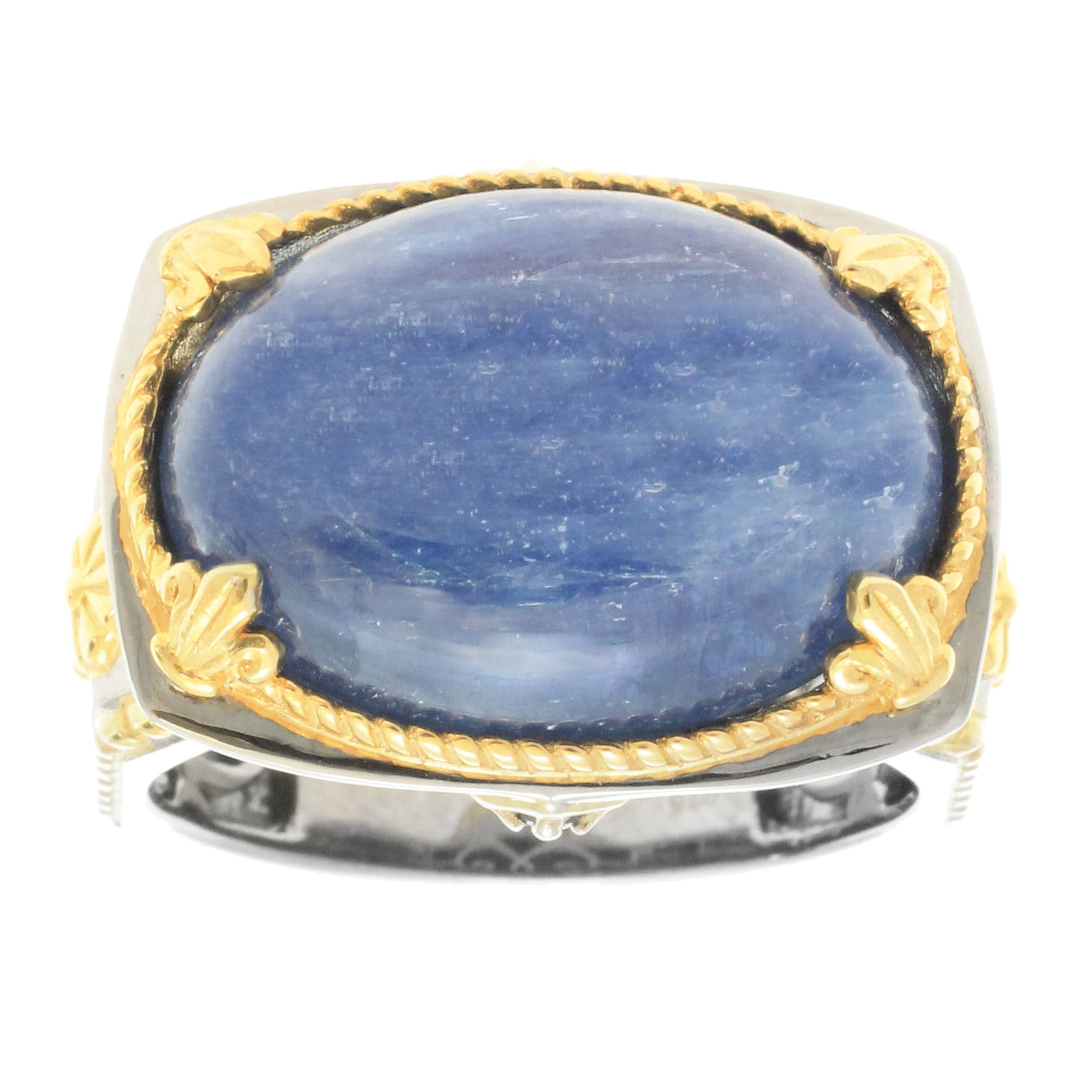blue catalog cuttlefish with yellow gold kyanite karat rings faceted ring and