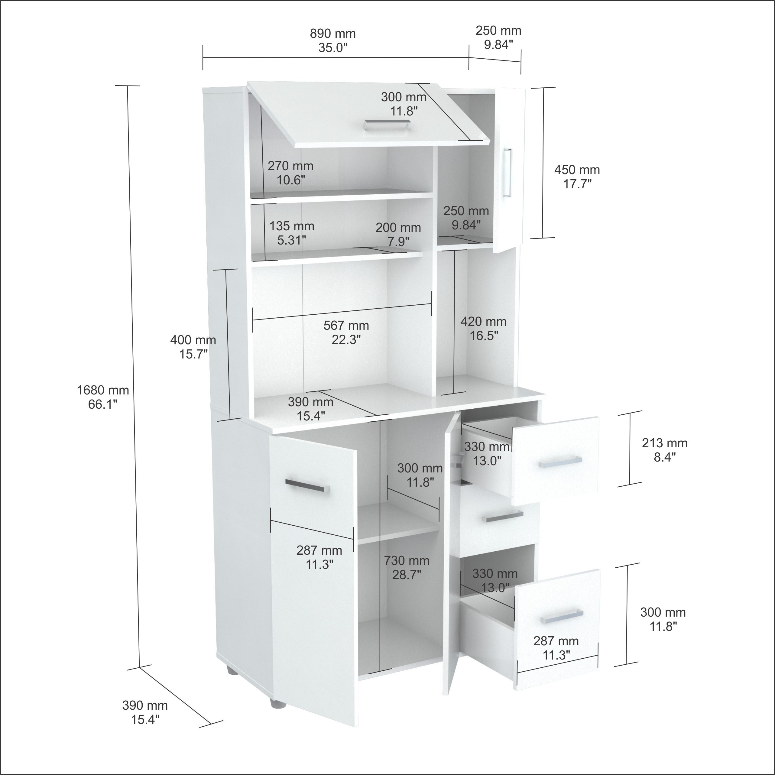 Shop Inval America LLC Laricina White Kitchen Storage Cabinet - Free Shipping Today - Overstock.com - 9988425  sc 1 st  Overstock.com & Shop Inval America LLC Laricina White Kitchen Storage Cabinet - Free ...