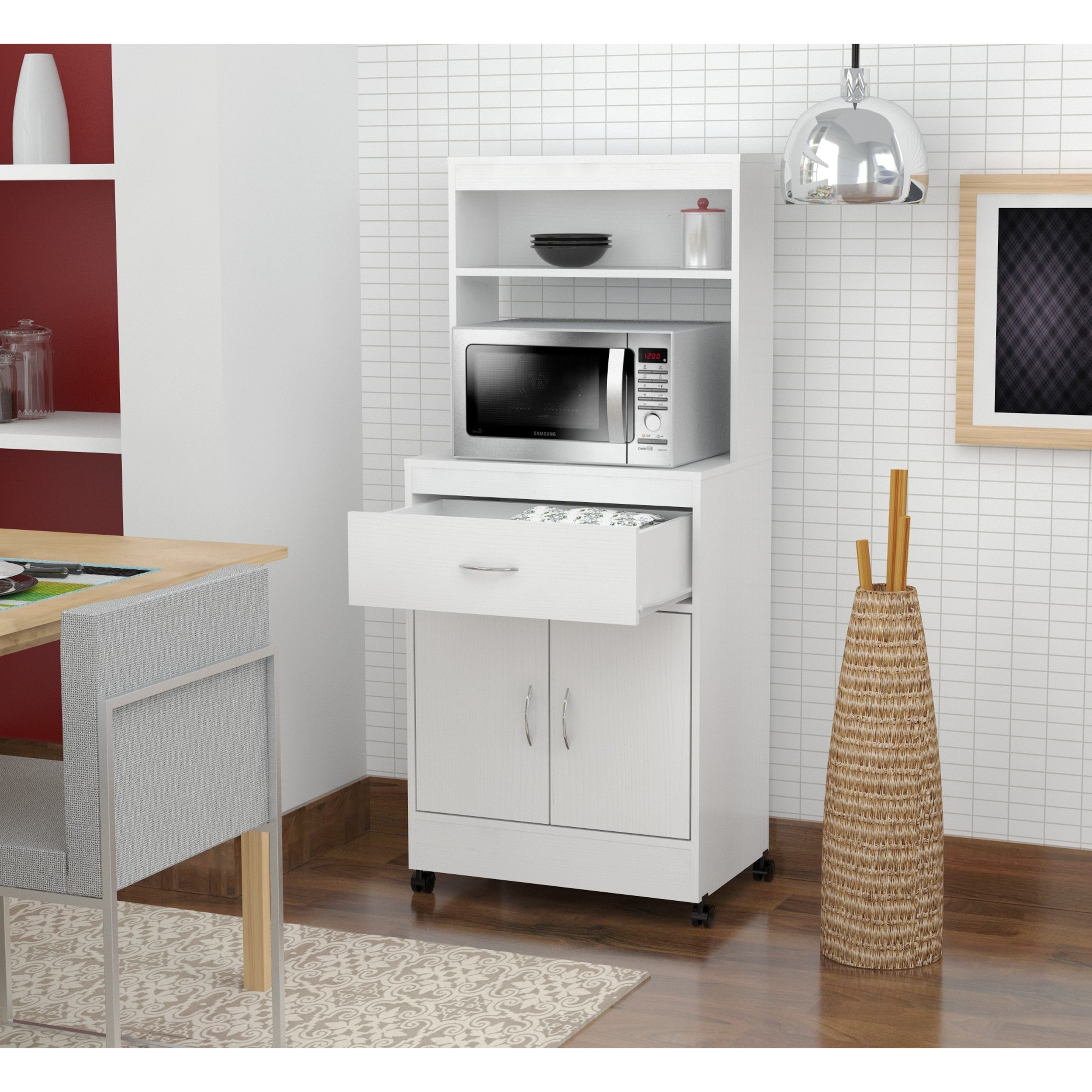 stand with laricina kitchen ip storage cabinet walmart drawer white modern com microwave inval