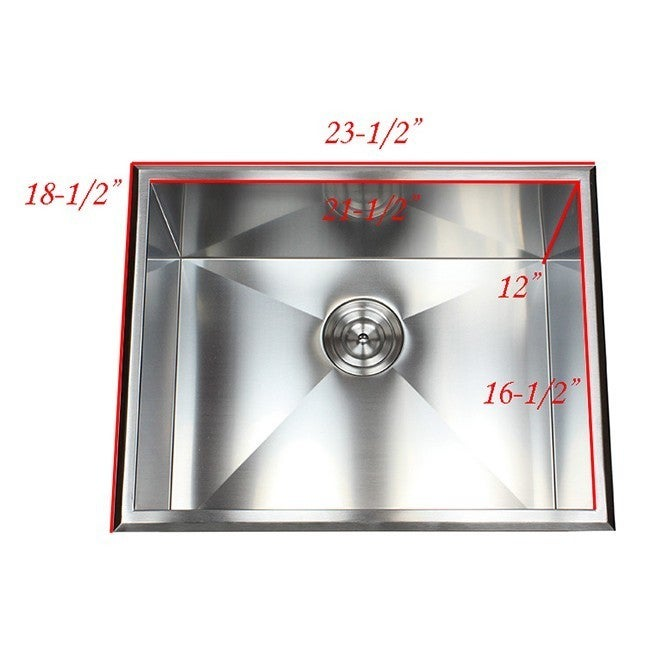23 inch stainless steel single bowl topmount drop in zero radius 23 inch stainless steel single bowl topmount drop in zero radius kitchen laundry utility sink 16 gauge free shipping today overstock 17139068 workwithnaturefo