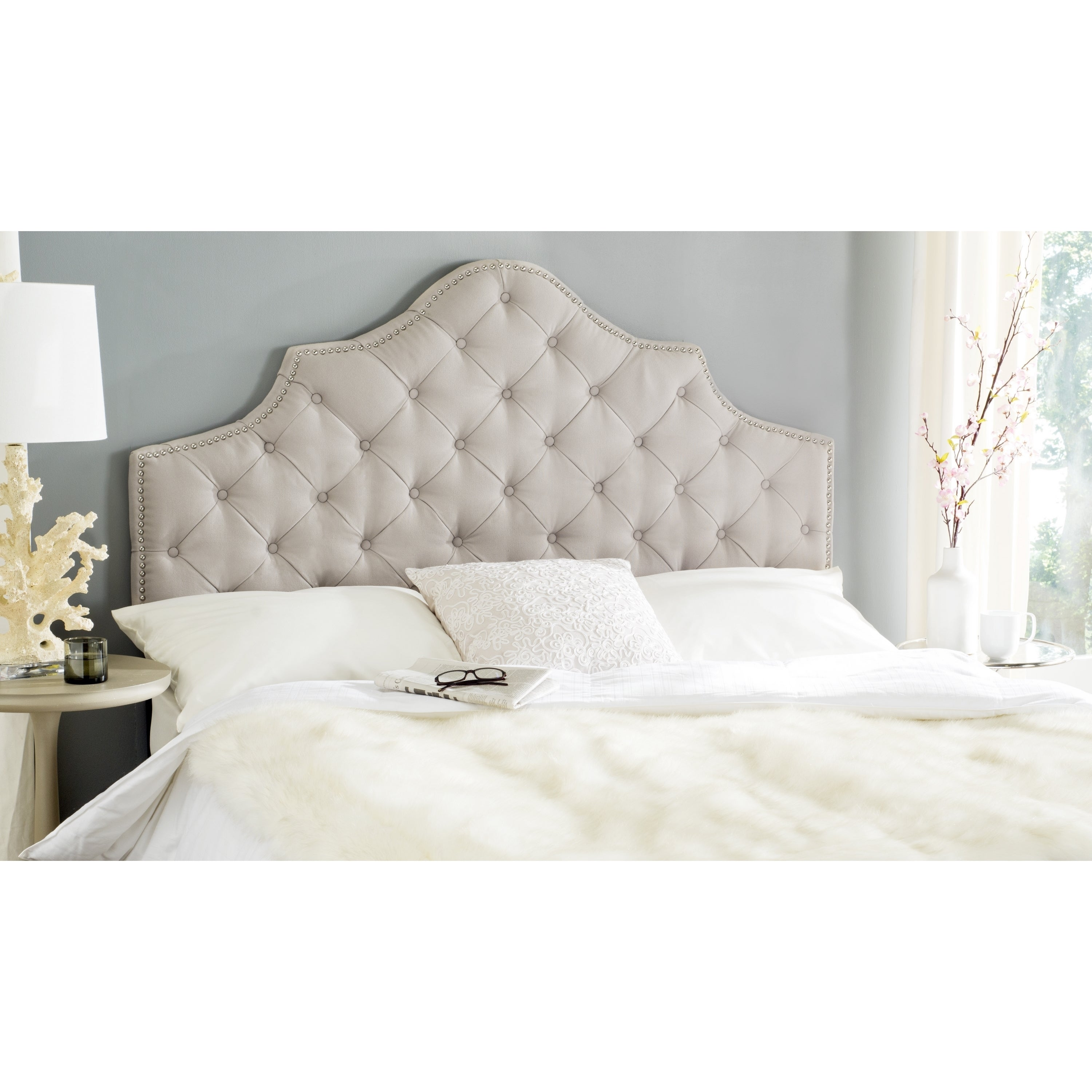 Shop safavieh arebelle taupe linen upholstered tufted queen headboard free shipping today overstock com 9989376
