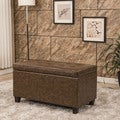Classic Tufted Waxed Texture Faux Leather Storage Bench Ottoman