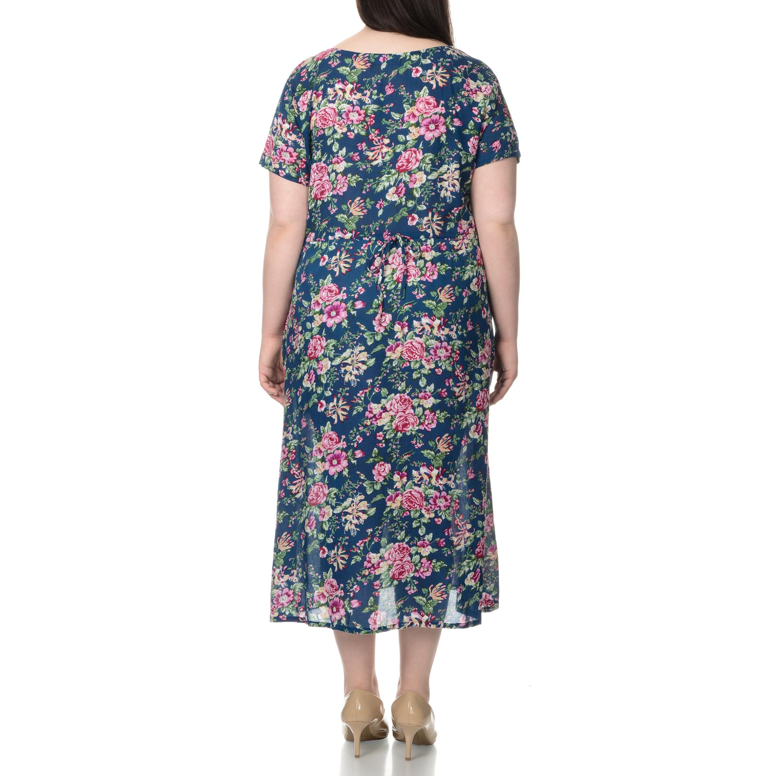 La Cera Womens Plus Size Floral Pint Short Sleeve Casual House
