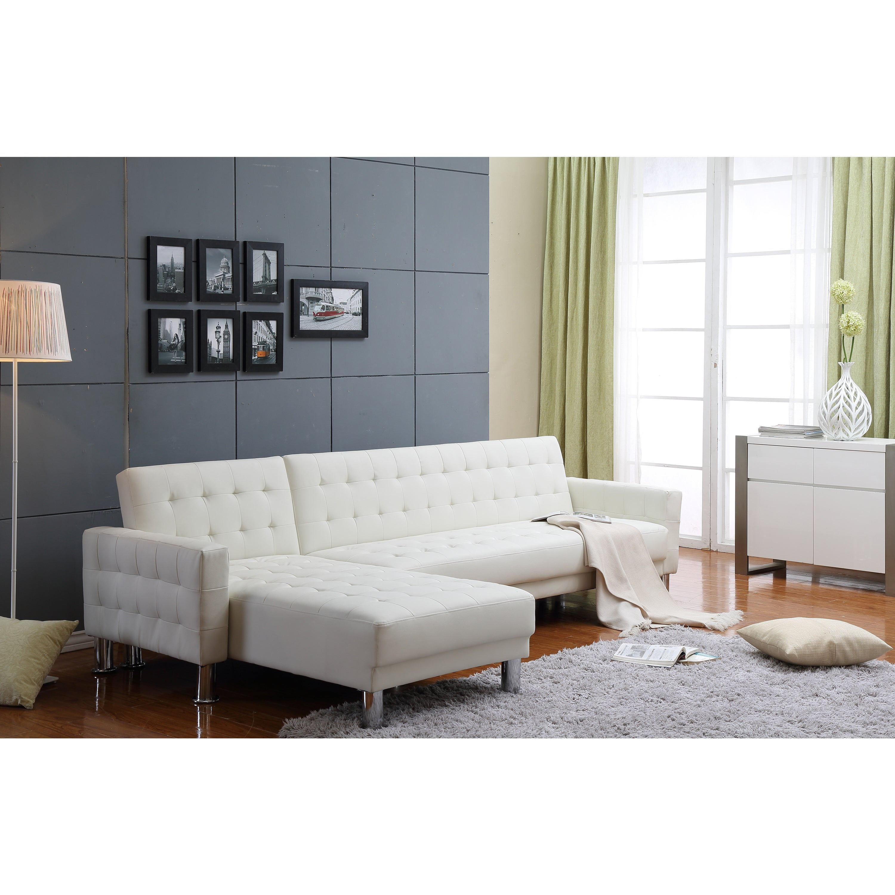 The Hom Marsden 2 Piece White Tufted Bi Cast Leather Sectional Sofa Bed Free Shipping Today 9991536