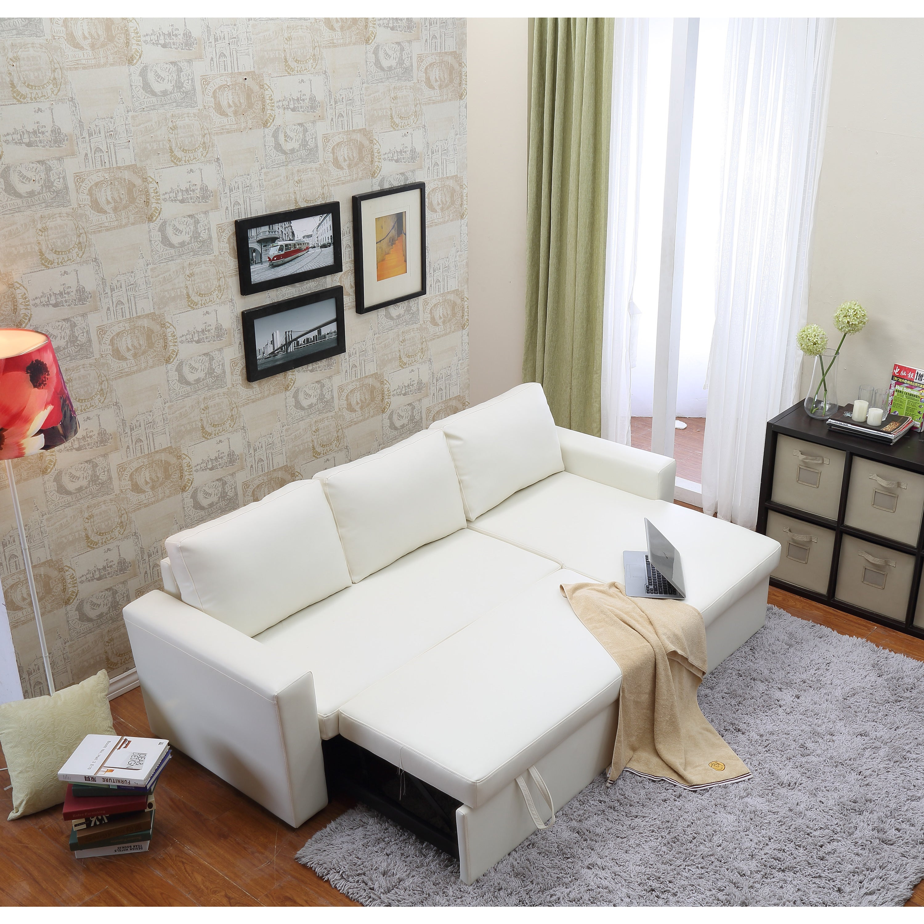 the Hom Geor own 2 piece White Bi cast Leather Sectional Sofa