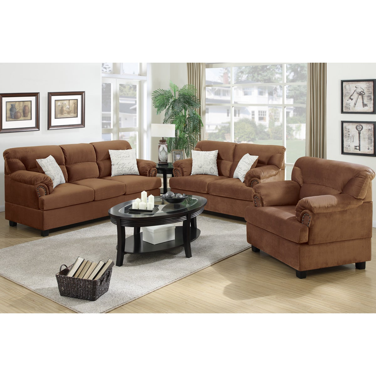 Shop junik 3 piece living room set in microfiber free shipping today overstock com 9991763