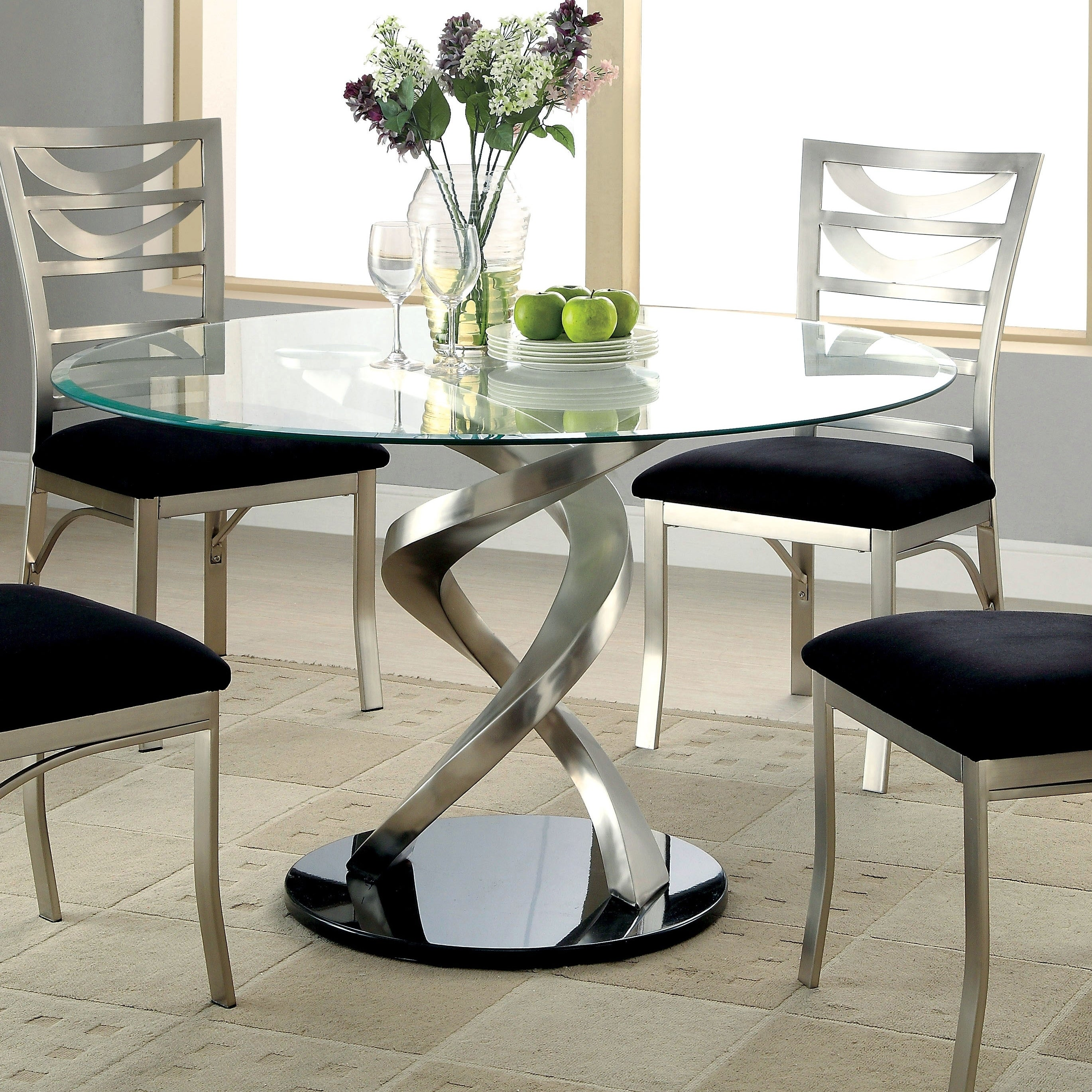 Furniture of america sculpture i silver glass top round dining table
