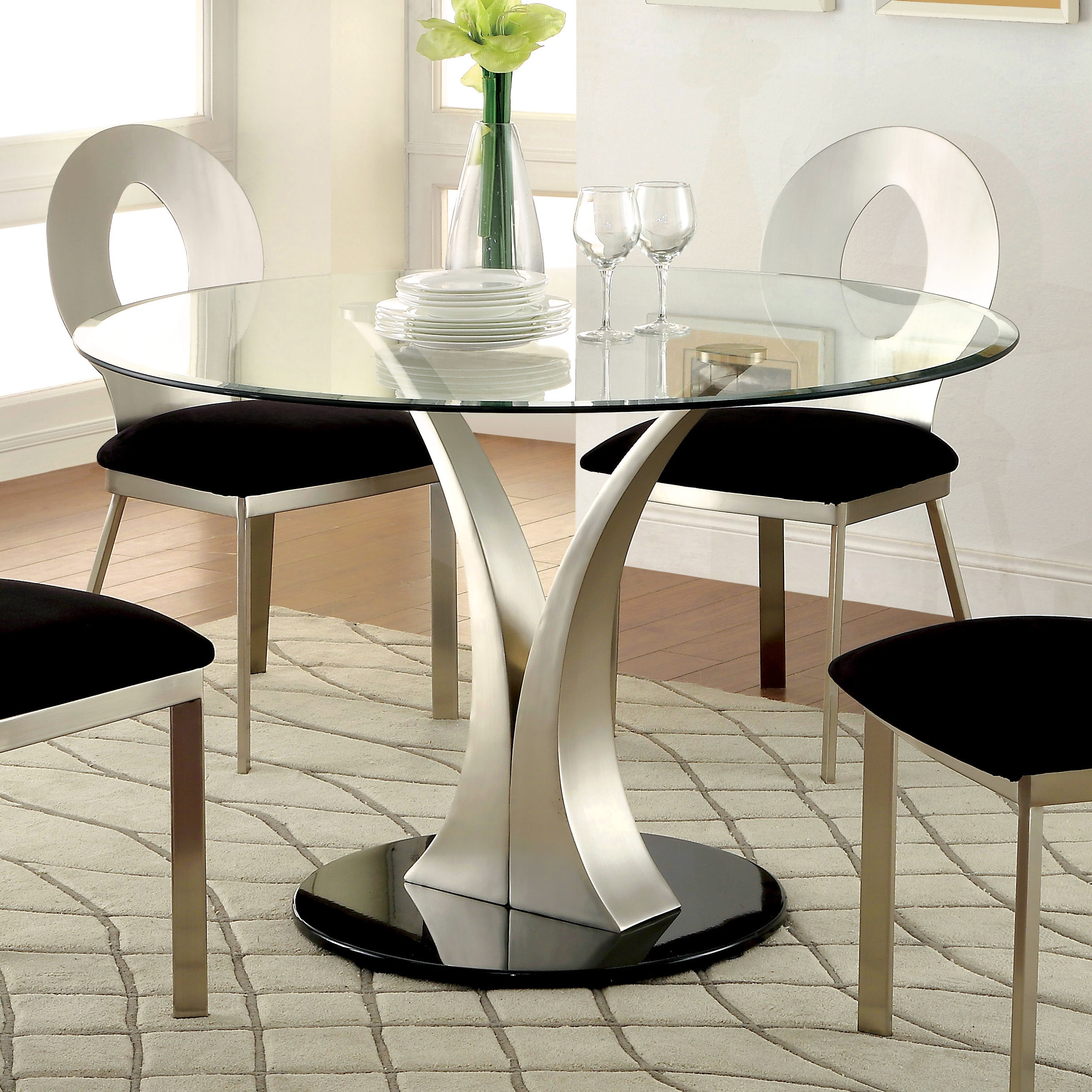 Shop Furniture Of America Sculpture III Contemporary Glass Top Round Dining  Table   Silver   On Sale   Free Shipping Today   Overstock.com   9995253
