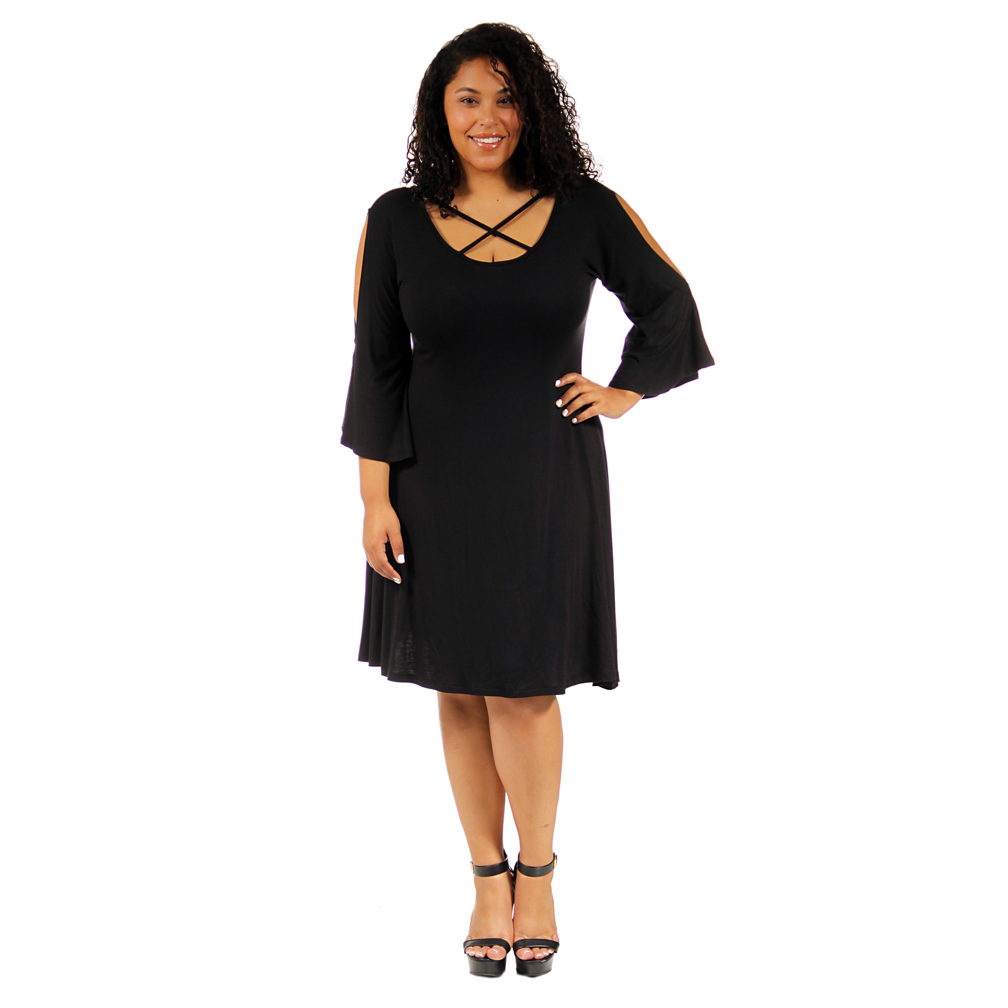 b4b7dd2ef59 24 7 Comfort Apparel Women s Plus-size Abstract Neck Split-Sleeve Dress