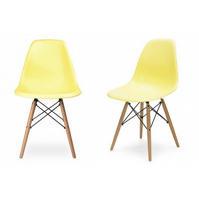 Contemporary Retro Molded Style Light Yellow Accent Plastic Dining Shell Chair With Wood Eiffel Legs Free Shipping Today 9999554