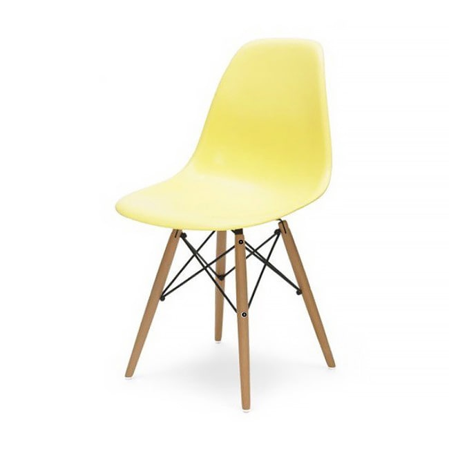 Beau Shop Contemporary Retro Molded Style Light Yellow Accent Plastic Dining  Shell Chair With Wood Eiffel Legs   Free Shipping Today   Overstock.com    9999554
