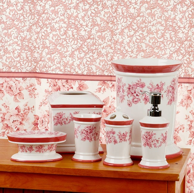 Vintage Rose Pink Bathroom Accessories Set With Shower Curtain