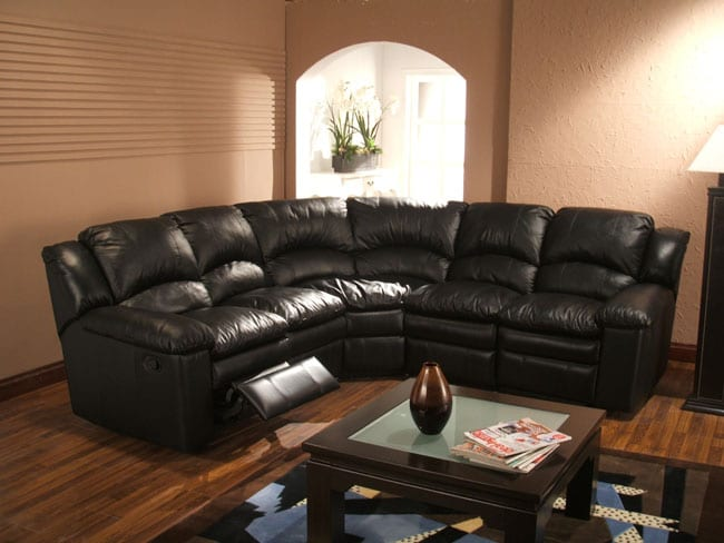 Black Leather 5-seat Recliner Sectional Sofa