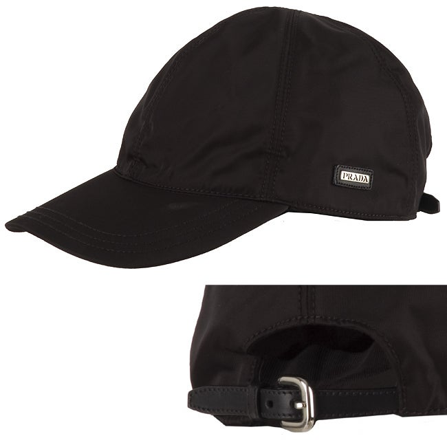 1cfa25044a5 Shop Prada Black Nylon Baseball Cap - Free Shipping Today - Overstock -  2540184