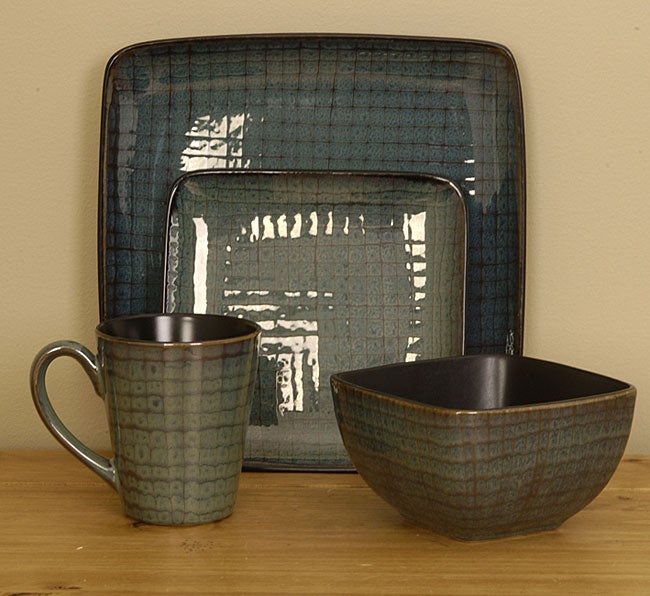 Shop Cuisinart 16-piece Square Teal Dinnerware Set - Free Shipping ...