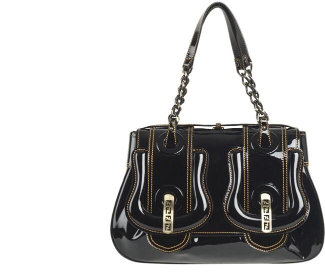 52d0b1d7c5 Shop Fendi Patent Leather Medium  B.Fendi  Buckle Handbag - Ships To ...