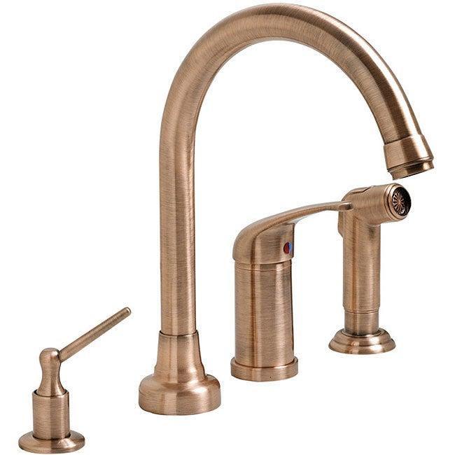 Shop Fontaine Antique Copper 4 Hole Kitchen Faucet Ships To Canada