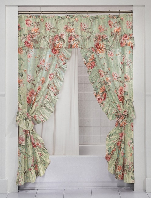 Shop English Rose Double Swag Shower Curtain