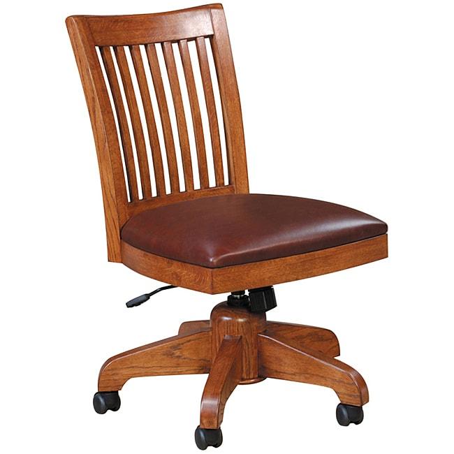 Bon Mission Solid Oak Swivel Desk Chair