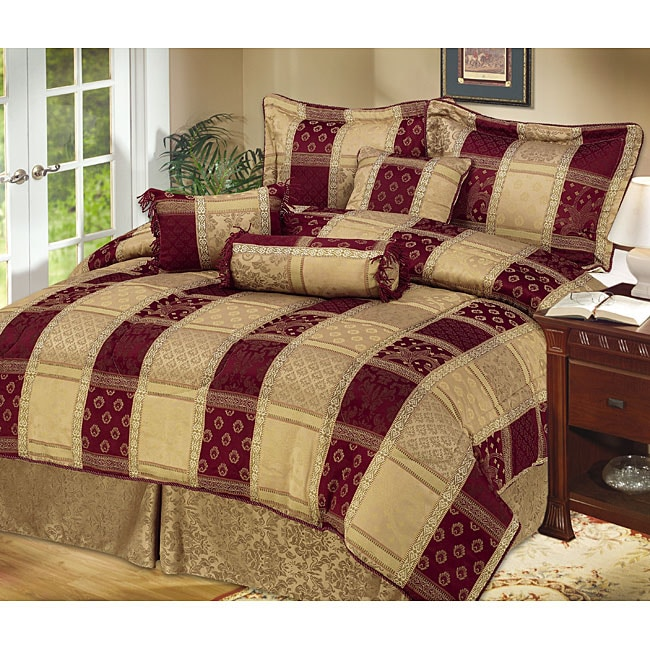 Hampton 7-piece Burgundy/ Gold Comforter Set