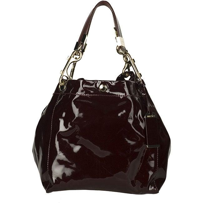 Jimmy Choo X27 Lola Medium Burgundy Patent Leather Tote Bag