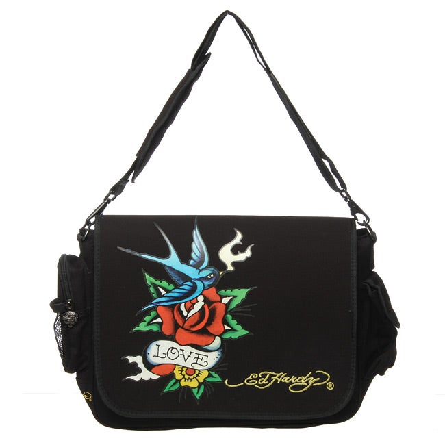 Shop Ed Hardy Leo Bird Flower Messenger Bag - Free Shipping On Orders Over   45 - Overstock.com - 4762300 5c548ba0bb