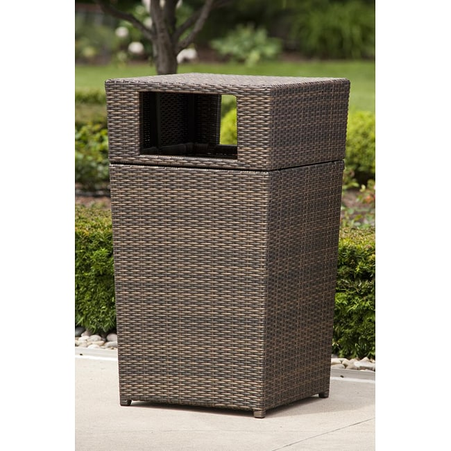 Shop All Weather Wicker Patio Trash Can Free Shipping Today