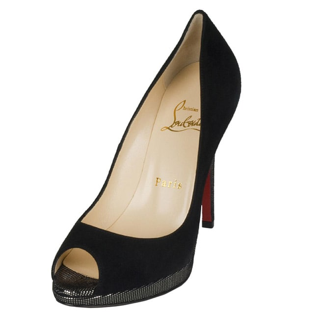 cheap for discount ffeda e05eb Christian Louboutin Women's 'Yolanda' Black Suede Peep-toe Pumps