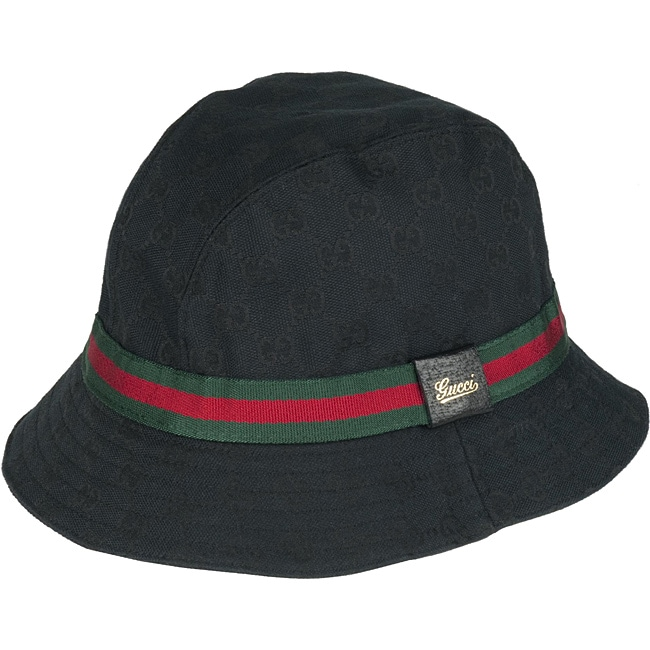 Shop Gucci Black Logo Canvas Bucket Hat - Free Shipping Today - Overstock -  5654161 6f013a4dc5a