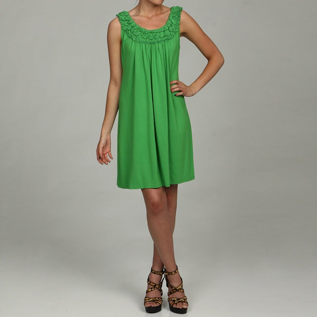 8ac048b55fc0 Shop London Times Women s Sleeveless Ruffled Neck Dress - Free Shipping On  Orders Over  45 - Overstock.com - 5692943