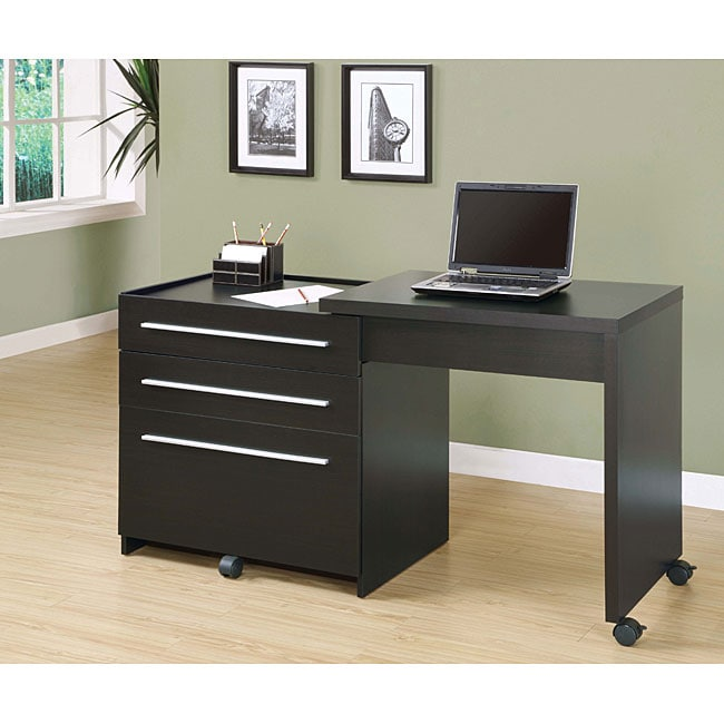 Merveilleux Cappuccino Slide Out Desk With Storage Drawers