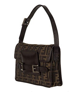 dfb2971bfd41 Shop Fendi Brown Canvas Zucca Jacquard Logo Bag - Free Shipping Today -  Overstock - 2656375