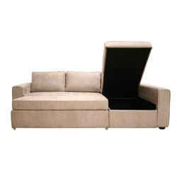 Shop Beige Microfiber Sectional Sofa with Storage Chaise   Free