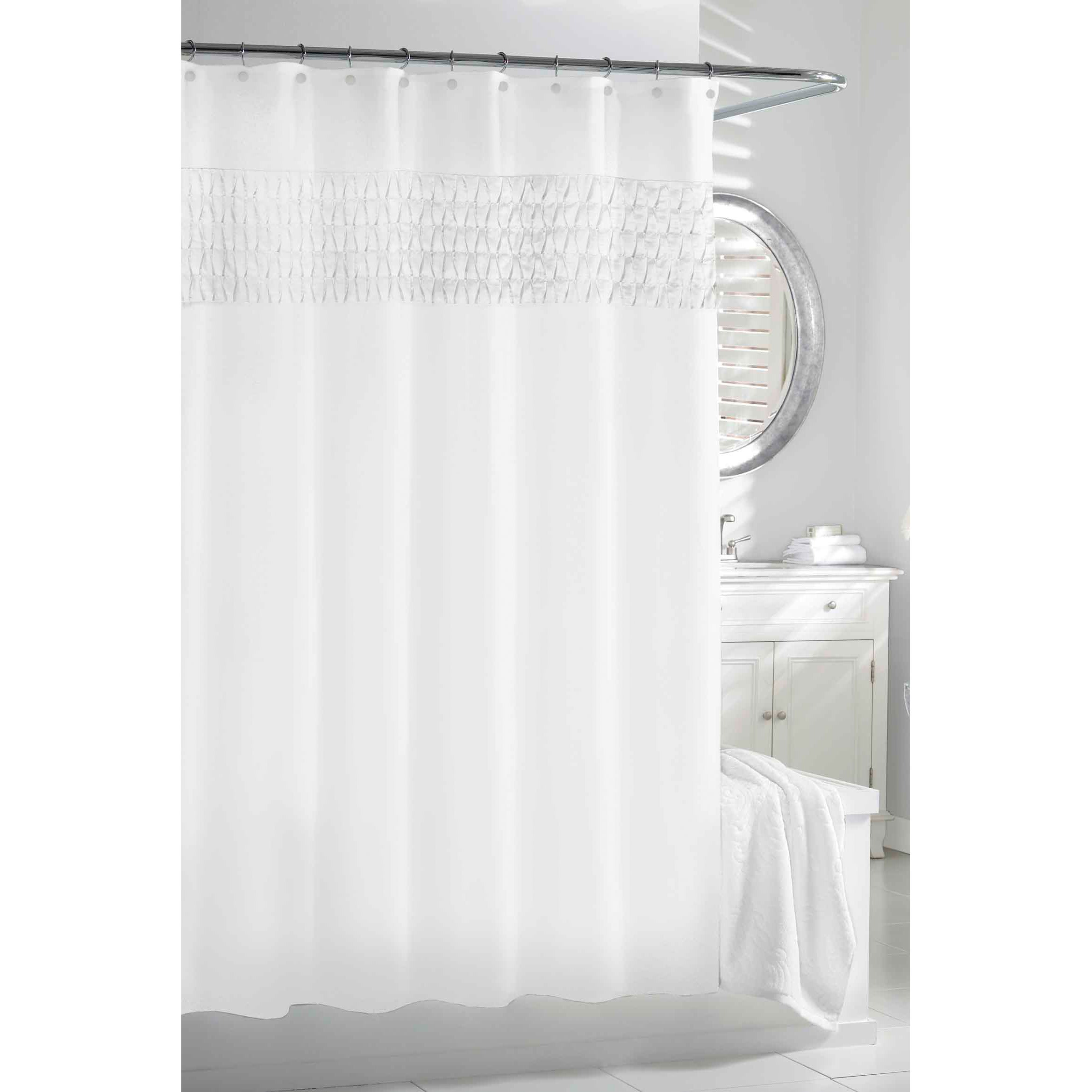 Shop White Smocked Pleats Shower Curtain - Free Shipping On Orders ...