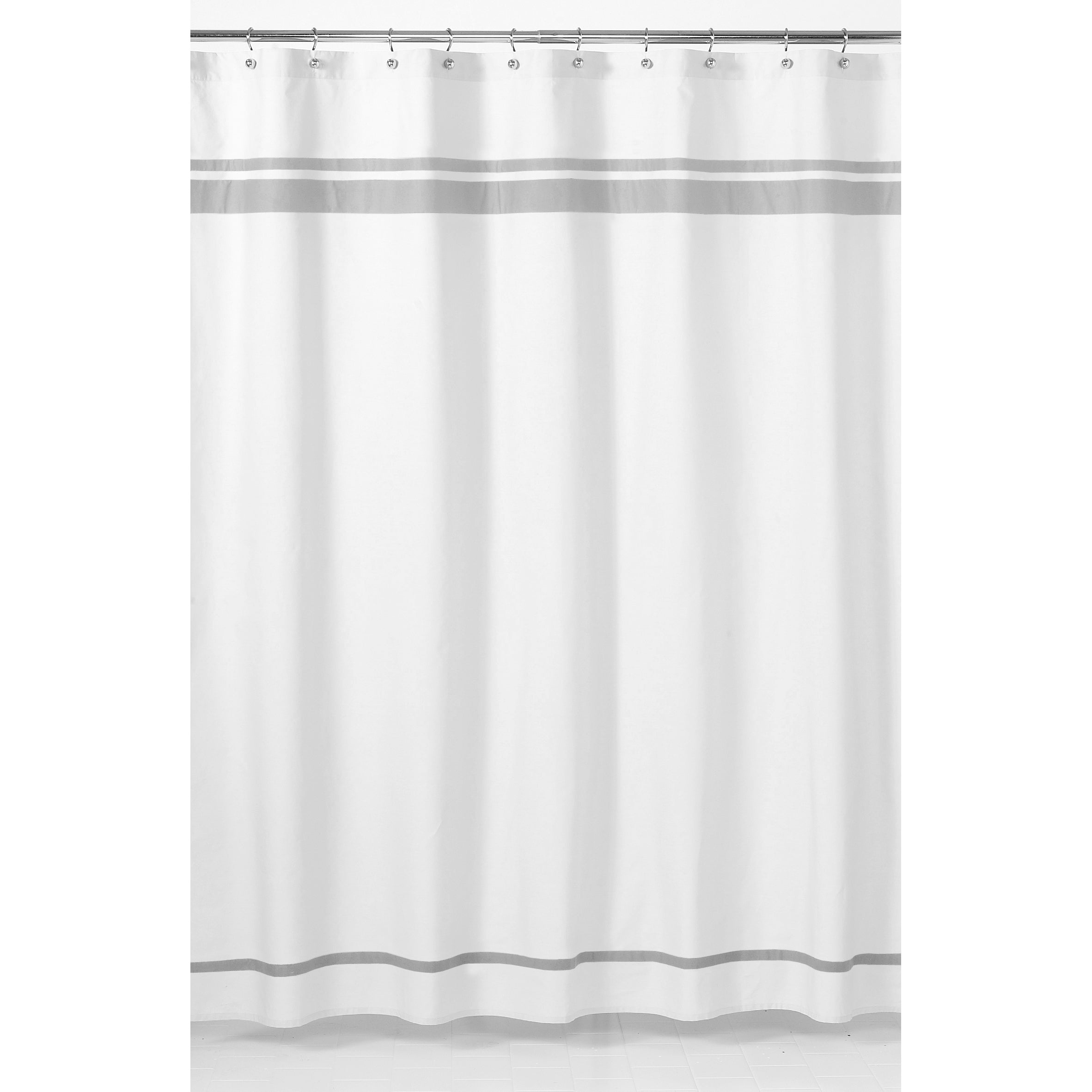 Shop Sweet Jojo Designs White and Grey Hotel Shower Curtain - Free ...