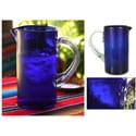 Handmade Blown Glass 'Deep Blue' Pitcher (Mexico)