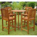 International Caravan Royal Tahiti Albacete 5-Piece Outdoor Bar-Height Dining Set