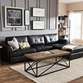 Dobson Black Leather Modern Sectional Sofa