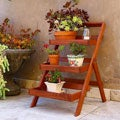 Wood Outdoor Three-Layer Plant Stand with Teak Finish