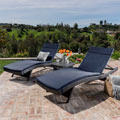 Luana Outdoor 3-piece Wicker Adjustable Chaise Lounge Set with Cushions by Christopher Knight Home